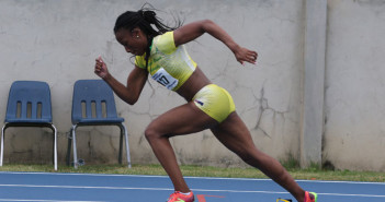 Ashley Kelly getting out the blocks at the 2nd OECS Championships held in the BVI last July