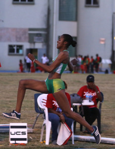 Chantel Malone competes at the 2016 OECS Championships at the A. O. Shirley Grounds. On Friday, she had her most consistent Long Jump series with five jumps over 21 feet