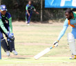 RTW's Joel Williams, right, gets his bat over the line ahead of a throw to Cavaliers' Wicket Keeper, Gopaul Bookram