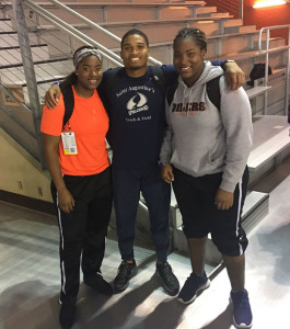 BVI athletes at the 2017 NCAA Division II Indoor Championships in Birmingham, Alabama. Trevia Gumbs, left, Khari Herbert and Tynelle Gumbs