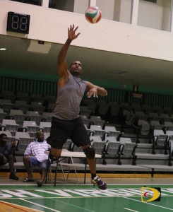 Dream Team's Canice Marquis making one of his jump serves against Guns For Life
