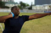 "Djimon Gumbs about to start his spin move in the Shot Put before unleashing a personal best throw of 17.20m (56'5½"")"