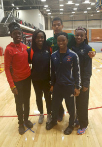 Virgin Islands athletes at the March 3-4, National Jr. Colleges Championships in Pittsburg, Kansas. L-R: Keshema Fleming, USVI, of Allen College, Nelda Huggins, Iowa Central, Tarique Moses, Central Arizona College, Taylor Hill, South Plains College and Judine Lacey, Iowa Central