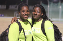 Twin sisters Trevia, left and Tynelle Gumbs. While Tynelle has thrown 50m in the Discus and Hammer Throw, both have 50m throws in the Hammer