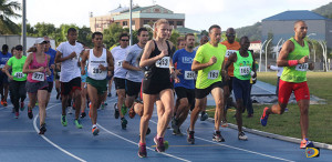 Clif Struiken, far right, (266) and Katrina Lindsay (263), led the men and women's division from start to finish to win the Blenheim Trust 5K Series finale and the overall titles