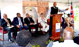 Managing Director of the BVI Ports Authority Mr. Claude O. Skelton Cline delivers remarks at the Groundbreaking Ceremony for the Cruise Pier Expansion Project on May 8, 2014. (Photo credit: BVIPA/ A. Glasgow)