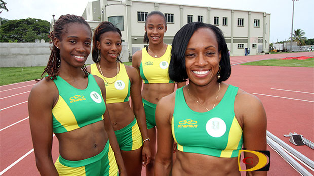 "Karene King, left, Ashley Kelly, Chantel Malone and Tahesia Harrigan-Scott, will be joined by National Jr. Record holder Nelda Huggins at the IAAF World Relays. PHOTO: Dean ""The Sportsman"" Greenaway"