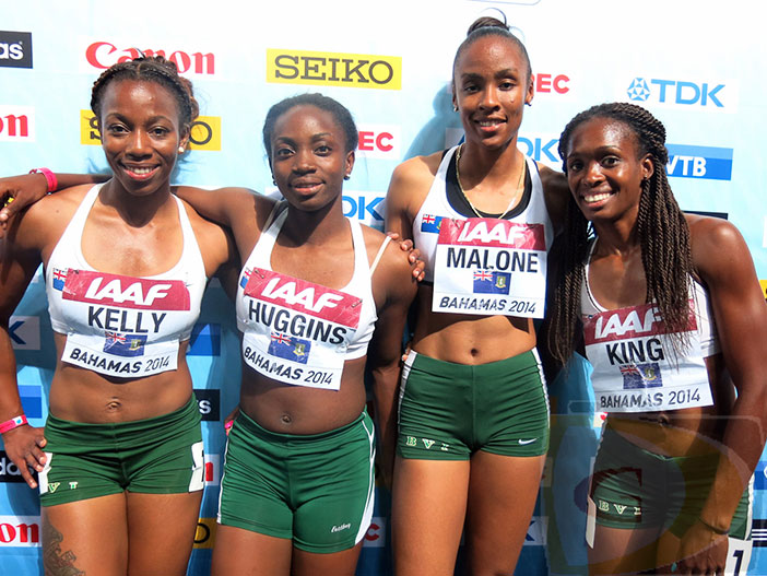 """Ashley Kelly, left, Nelda Huggins, Chantel Malone and Karene King became the BVI's first athletes to compete in Nassau, Bahamas at the IAAF World Relays. PHOTO: Dean """"The Sportsman"""" Greenaway"""
