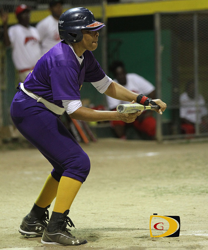 West End Warriors' Gertrude Thomas prepares to take a bunt