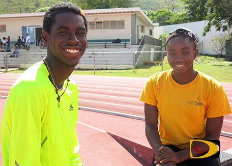 "Kyron McMaster, left and Nelda Huggins PHOTO: Dean ""The Sportsman"" Greenaway"