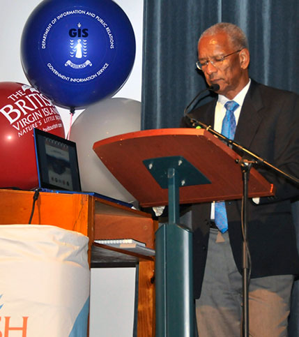Premier and Minister of Finance, Dr. the Honourable D. Orlando Smith, OBE is pictured here as he delivered remarks during the opening ceremony for the Taxi Academy held on August 18. (Photo Credit: F. Skerritt/GIS).