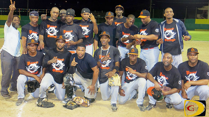 "Coach Terry ""Chino"" Chinnery, bottom left, kneeling, and his Power Outage squad, gave him his first Men's Softball title."