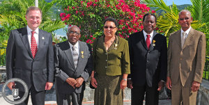 Governor John S. Duncan, OBE is pictured here with the 2014 recipients of the BVI Badge of Honor at an Investiture Ceremony this morning at Government House.  (From left to right) Clarence Thomas, Marlene Penn Trotman and Reynell Frazer. They are joined by the Premier of the Virgin Islands Dr. the Honourable D. Orlando Smith, OBE (Photo Credit:  GIS/Mr. Ronnielle Frazer)