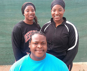Central Arizona College's Tynelle Gumbs, left, Trevia Gumbs and Eldred Henry established records in the Weight Throw and Shot Put events respectively.  PHOTO CREDIT:  Tony Dougherty