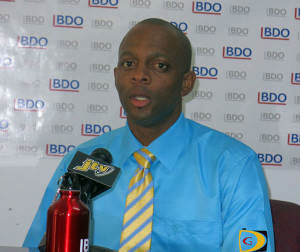 Norval Young speaks during a BVI Football Association press conference