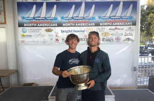 Chris Brockbank, left and Alec Anderson displaying the cup as 2015 North American 49er champs