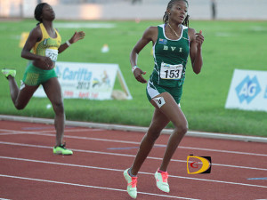 "Tarika ""Tinker Bell"" Moses, seen here competing at the 2013 Carifta Games, returned to action after injuries cut short her 2014 season. She made her 800m debut with a 2:12.46 Indoor National Record in Boston.  PHOTO CREDIT:  Dean ""The Sportsman"" Greenaway"