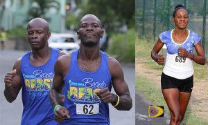 "Curwin Andrews, Julius Farley and Rosmond Johnson were the top runners in the weekend Dive BVI 5K Race on Virgin Gorda.  PHOTO CREDIT:  Dean ""The Sportsman"" Greenaway"