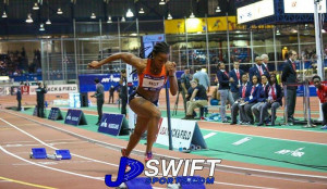 Ashley Kelly's 53.33 and 23.87 are the second best indoor times by a BVI female athlete. PHOTO courtesy of Swiftsports.com