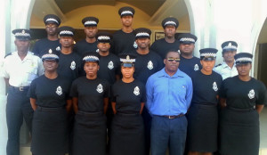 The RVIPF newest recruits assemble in front the HLSCC's Marine Centre with Chief Instructor Sergeant Westmore Jeffers (far left); Sergeant Beverly James (far right) and Physical Trainer Joseph Valrose (front centre).
