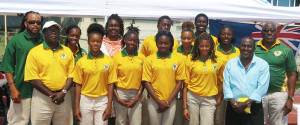 Home based BVI Carifta Games athletes along with officials, BVI Athletics Association Executive Committee members and BVI Olympic Committee President, Ephraim Penn. Five athletes will join those at home to make up the 13 for competition