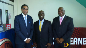 """CBC Vice President of Finance and Marketing, Patrick Haynes, left, BVI Basketball Federation President, Guy """"The General"""" Malone and CBC President Glyne Clarke, at the launch of the 2015 CBC Men's & Women's Championships"""