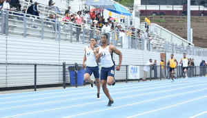 Khari Herbert, left on his way to finishing fourth in the CIAA Conference Championships in 46.81 seconds in the 400m, improving his best from 47.21.
