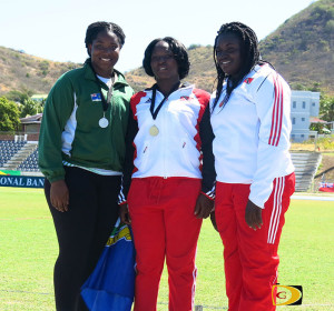 Trevia Gumbs collects the BVI's 1st medal at the 44th Carifta Games