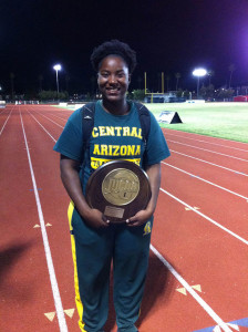 Central Arizona College freshman Trevia Gumbs claimed the Discus Throw and Hammer Throw National Records during the Arizona College's Region I Championships
