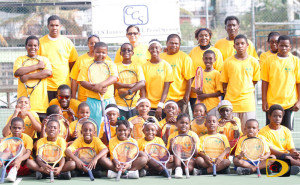 Carol Mitchell, 7th right with the Long Look East End Tennis Club players and officials at the close of the spring program on June 18