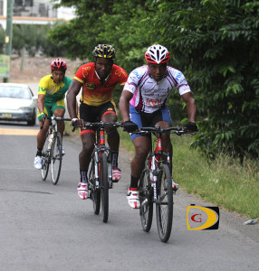 Barry Jones leads Orano Andrews as they enter Paraquita Bay, during Sunday's Tour de Tortola, which Andrews won in 2 hours and 40 minutes. Jones was second in 2:52.