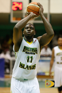 Kleon Penn attempts a free throw during the 2015 CBC Championships against the Cayman Islands