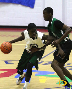 Bayside Blazers' Dione Blyden, left and West Gunners' D'Moi Hodge will go at it again starting on Friday, with a chance to advance to the league finals