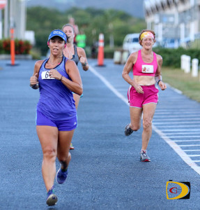 Claudia Ferrari leading the women in the first lap of Saturday's race on Beef Island