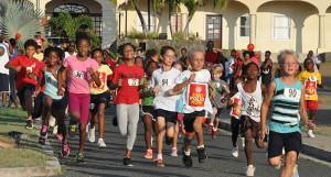 One Milers blast off during Saturday's College Classic Series race run in conjunction with the Rotary Club of Tortola's End Polio Now Campaign PHOTO: Cleave M. Farrington