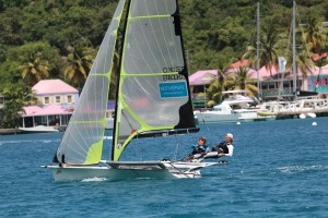 Alec Anderson and Chris Brockbank on their 49er craft