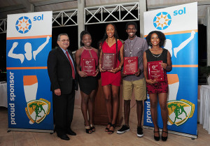 2014 Athletes of the Year presented by Sol with NACAC President Victor Lopez. Photo, Todd Van Sickle
