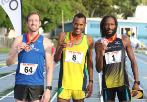 Virgin Gorda resident Vincent Fournier, left, finished third in the race won by St. Vincent & The Grenadines' Pimentos Ballentyne, with defending champ Shane DeGannes of St. Thomas finishing third