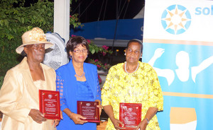 Eucilita Tom, left, Ambrozine Wilson and Rita Francis, received teh BVI Athletics Association's 2015 Lifetime Achievement Awards for their dedication as volunteers during the 1970s. Photo Credit: Cleave M. Farrington
