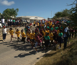 Participants take off in Friday's Round de Valley Race organized by the Brigade Flax Educational Center on Virgin Gorda. Photo courtesy of Lynn Weeks