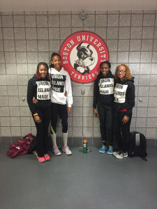 "Sprint Tech quartet of Tarika ""Tinkerbell"" Moses, Beyonce DeFreitas, Karene King and Lakeisha ""Mimi"" Warner, became the first BVI women to run a 4 x 400m Relay indoors and established a record of 3:45.34"
