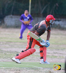 Vikings batsman Vaden Walker prepares to for a deep shot which sailed into a Royal Knights fielder's hand which he dropped helping the Vikings to win the game on the next ball