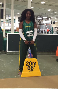 Tynelle Gumps had a Jr. College record throw of 20.91m in the Weight Throw, to shatter the 2004 Championships Record of 19.55m.  PHOTO: Tony Dougherty