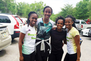 Karene King, Left, Chantel Malone, Tahesia Harrigan-Scott and Ashley Kelly, established a new 4x100m relay National Record