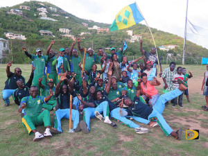 Vincy and Road Town Wholesale players, celebrate wining the BVICA's respective Premier and Division I titles on Sunday