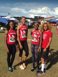 "Sprint Tech Track Club athletes Zacharia Frett, left, Beyonce DeFreitas, L'T'Sha Fahie and Lakeisha ""Mimi"" Warner, became the first Jr. Girls team to run under 46.00 seconds in the 4x100m Relay, when they ran 45.78 seconds to place third in the Flo Golden South Classic on Saturday. PHOTO: Jennifer King"