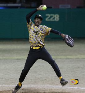 "Pirates pitcher Allen ""Woodrow"" Smith, fired a 2-hitter in helping them to even the BVI Softball Association League Championships Series at 1-1"