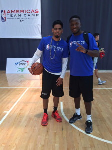 Jason Edwin, right, with Chris Clunie, Associate Director, Basketball Operations-International for the NBA