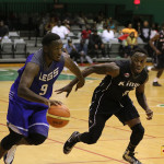 Legs' Jason Edwin, right, will miss the first two games of the BVI Basketball Federation Championships Series as he attends a coaching course in Mexico