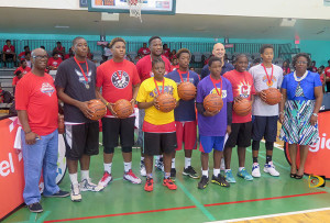 "Players selected for the Digicel NBA Elite Camp were joined by BVI Basketball Federation & Dept of Youth Affairs officials. L-R: Guy ""The General"" Malone, Omar Walker, Nixon Hamilton, Mahkayla Pickering, Jason Edwin, Kachife Bradshaw,  Diorys Joseph, Troy Justice, Shaliquah Fahie, Demoi Bradley & Avelinda Freeman"